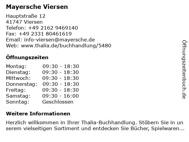 Mayersche Buchhandlung KG in Viersen: Adresse und Öffnungszeiten