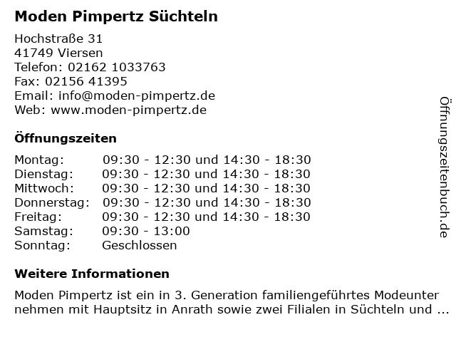 Moden Pimpertz Süchteln in Viersen: Adresse und Öffnungszeiten