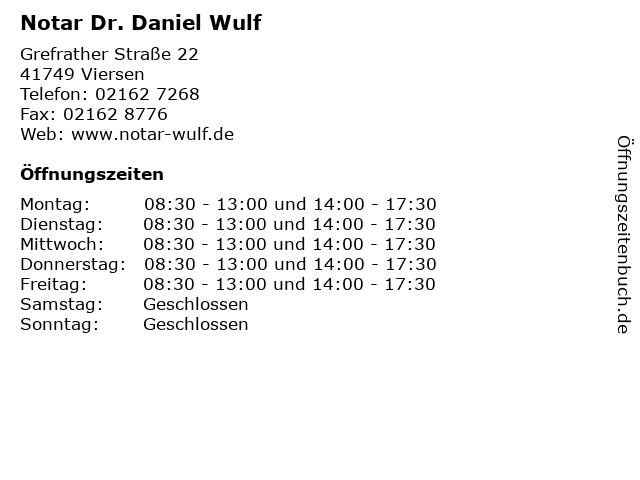 Notar Dr. Daniel Wulf in Viersen: Adresse und Öffnungszeiten