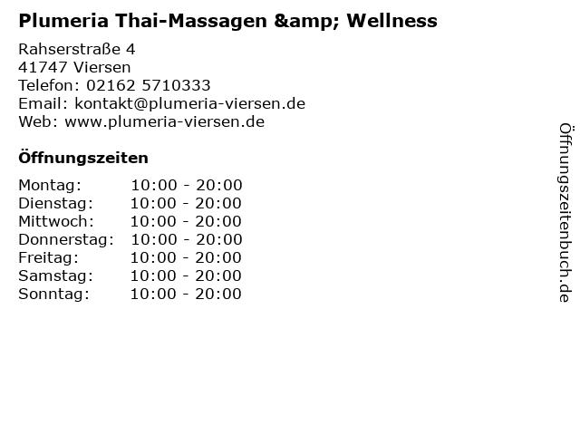 Plumeria Thai-Massagen & Wellness in Viersen: Adresse und Öffnungszeiten