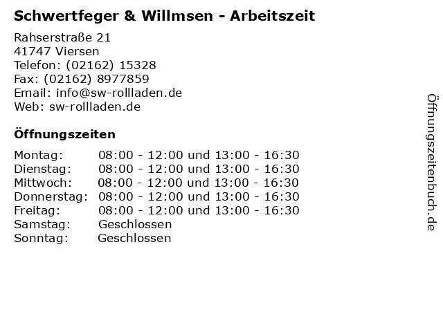 Schwertfeger & Willmsen - Arbeitszeit in Viersen: Adresse und Öffnungszeiten