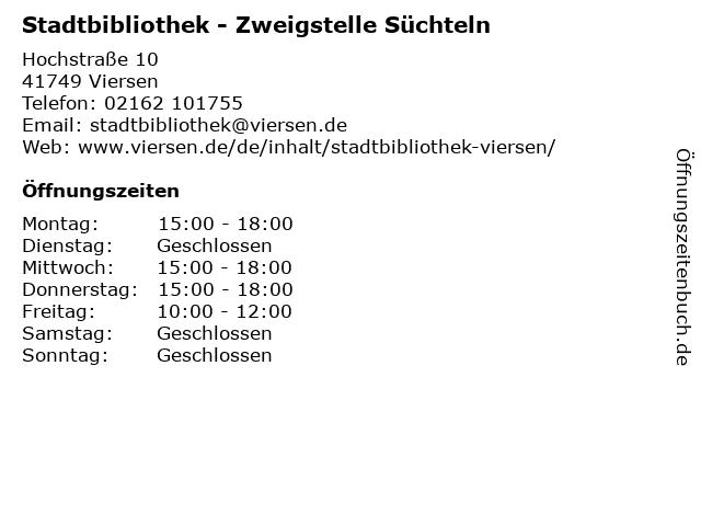 Stadtbibliothek - Zweigstelle Süchteln in Viersen: Adresse und Öffnungszeiten