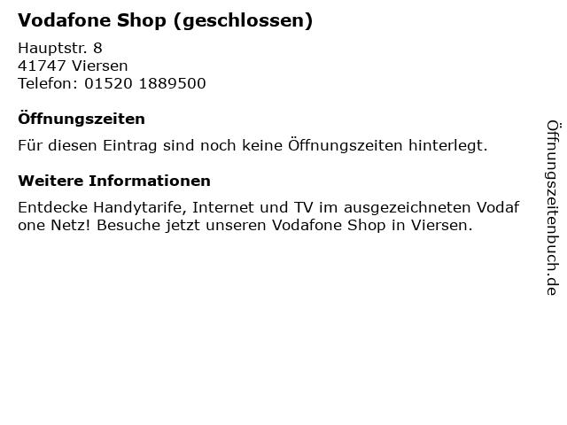 Vodafone Shop (geschlossen) in Viersen: Adresse und Öffnungszeiten