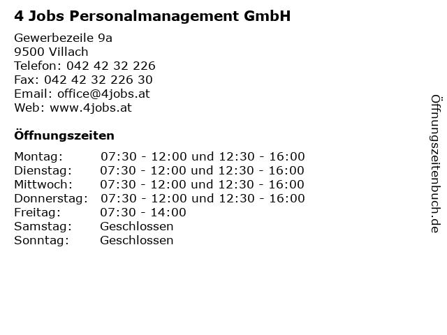 4 Jobs Personalmanagement GmbH in Villach: Adresse und Öffnungszeiten