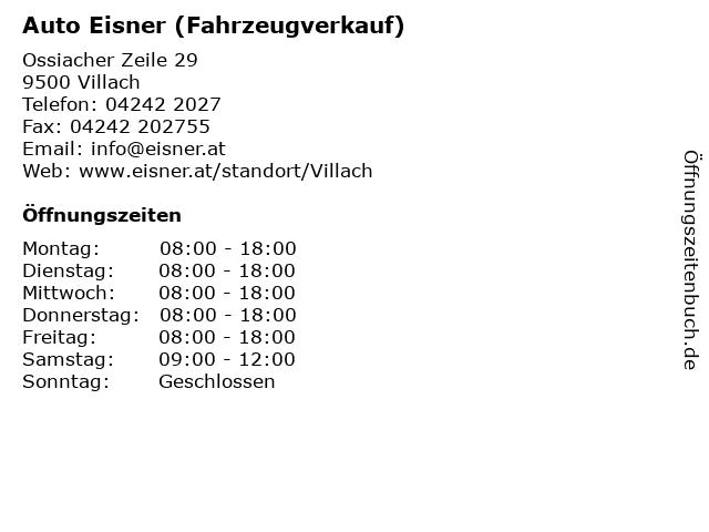 Auto Eisner (Fahrzeugverkauf) in Villach: Adresse und Öffnungszeiten