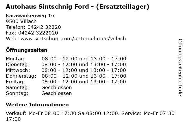 Autohaus Sintschnig Ford - (Ersatzteillager) in Villach: Adresse und Öffnungszeiten