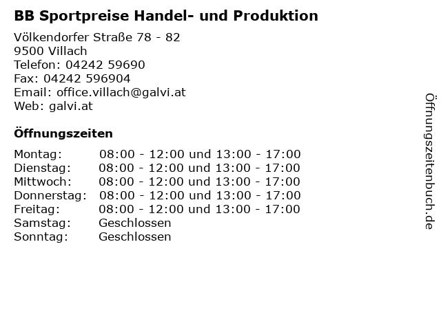 BB Sportpreise Handel- und Produktion in Villach: Adresse und Öffnungszeiten