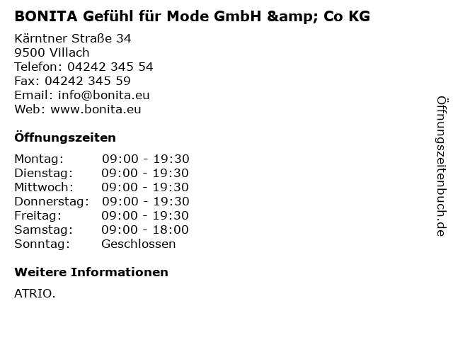 BONITA Gefühl für Mode GmbH & Co KG in Villach: Adresse und Öffnungszeiten