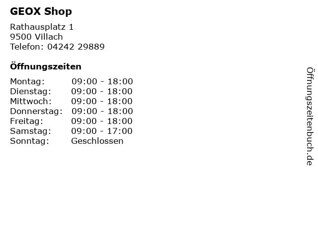 GEOX Shop in Villach: Adresse und Öffnungszeiten