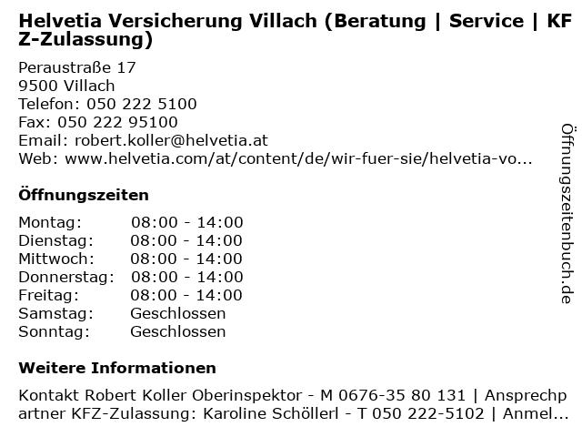 Helvetia Versicherung Villach (Beratung | Service | KFZ-Zulassung) in Villach: Adresse und Öffnungszeiten
