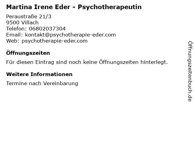 Martina Irene Eder - Psychotherapeutin in Villach: Adresse und Öffnungszeiten
