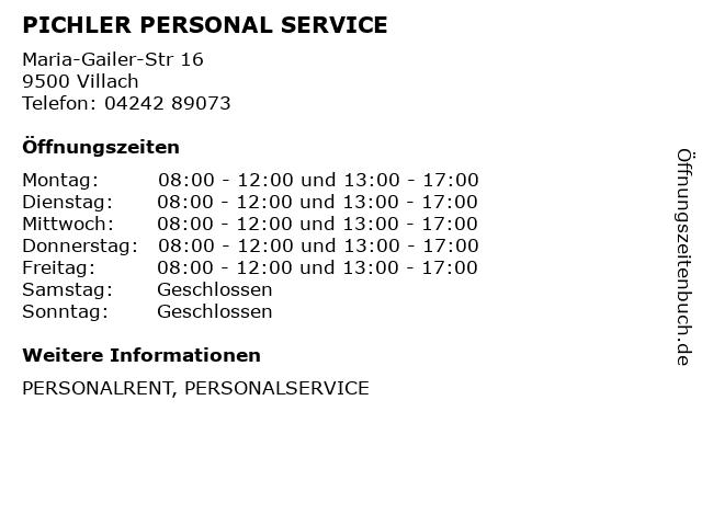 PICHLER PERSONAL SERVICE in Villach: Adresse und Öffnungszeiten