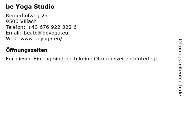 be Yoga Studio in Villach: Adresse und Öffnungszeiten