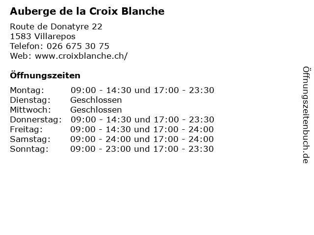 Auberge de la Croix Blanche in Villarepos: Adresse und Öffnungszeiten