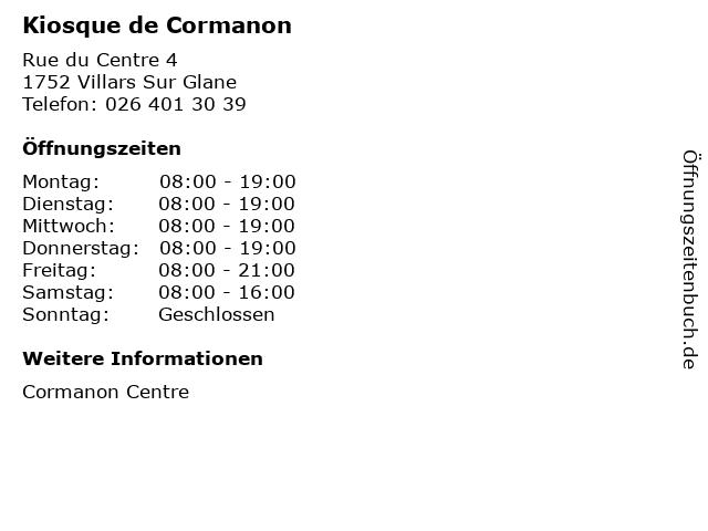Kiosque de Cormanon in Villars Sur Glane: Adresse und Öffnungszeiten