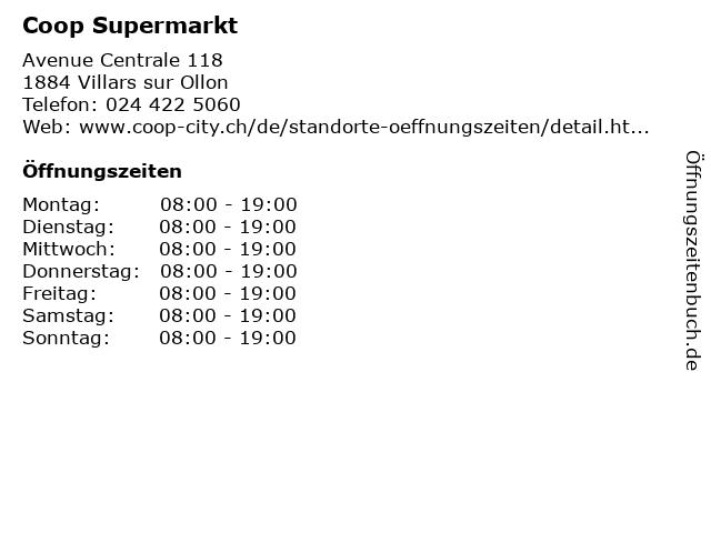 Coop Supermarkt in Villars sur Ollon: Adresse und Öffnungszeiten