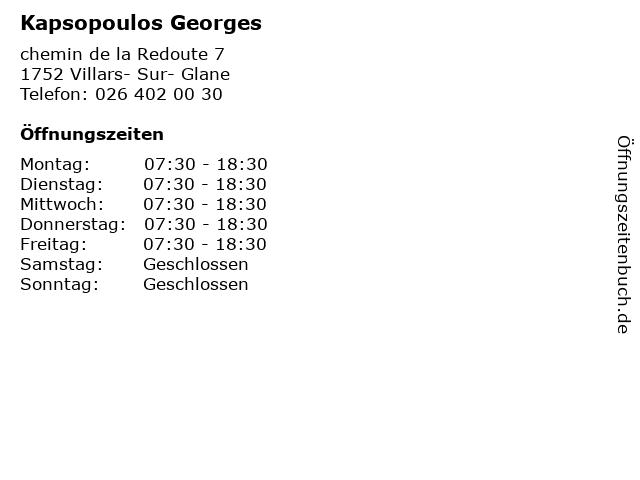 Kapsopoulos Georges in Villars- Sur- Glane: Adresse und Öffnungszeiten