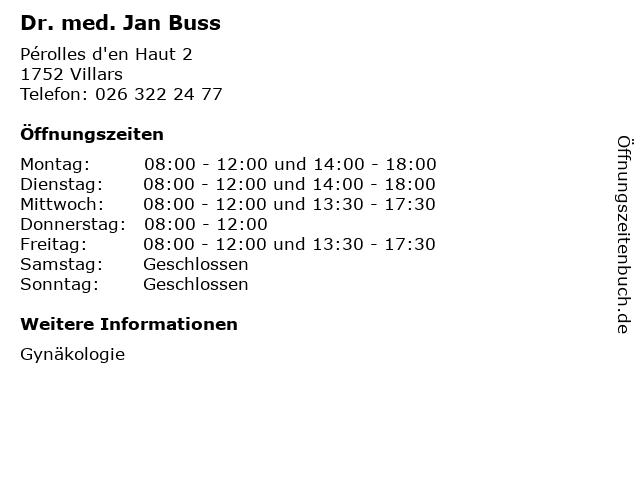 Dr. med. Jan Buss in Villars: Adresse und Öffnungszeiten