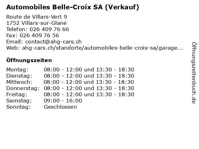 Automobiles Belle-Croix SA (Verkauf) in Villars-sur-Glane: Adresse und Öffnungszeiten