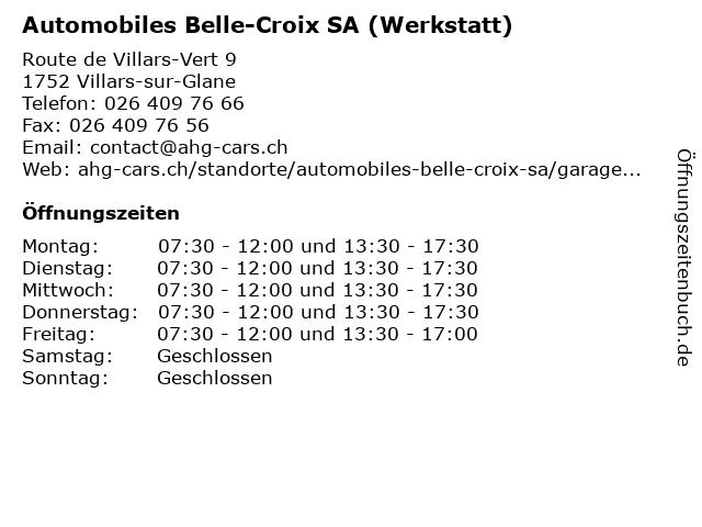 Automobiles Belle-Croix SA (Werkstatt) in Villars-sur-Glane: Adresse und Öffnungszeiten
