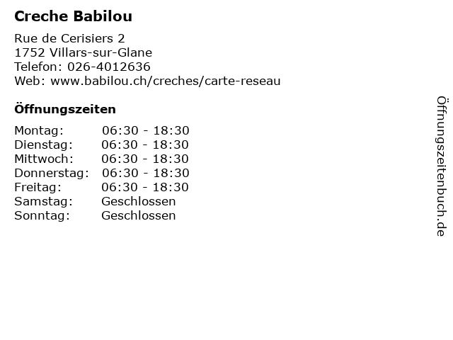Creche Babilou in Villars-sur-Glane: Adresse und Öffnungszeiten