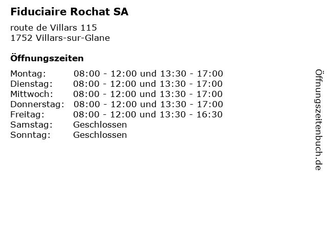 Fiduciaire Rochat SA in Villars-sur-Glane: Adresse und Öffnungszeiten