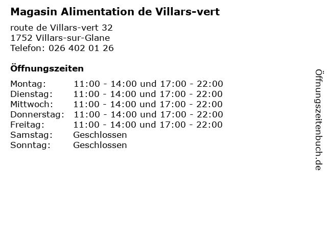 Magasin Alimentation de Villars-vert in Villars-sur-Glane: Adresse und Öffnungszeiten
