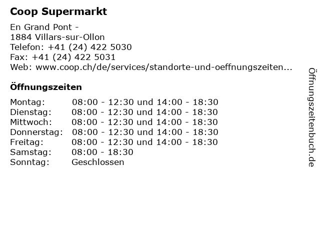 Coop Supermarkt in Villars-sur-Ollon: Adresse und Öffnungszeiten