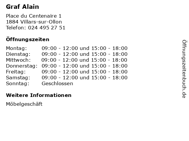 Graf Alain in Villars-sur-Ollon: Adresse und Öffnungszeiten