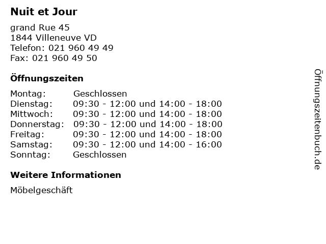 Nuit et Jour in Villeneuve VD: Adresse und Öffnungszeiten