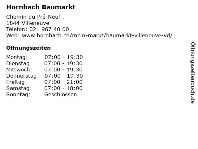 Hornbach Baumarkt in Villeneuve: Adresse und Öffnungszeiten