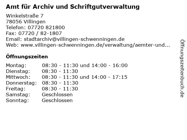 Amt für Archiv und Schriftgutverwaltung in Villingen: Adresse und Öffnungszeiten