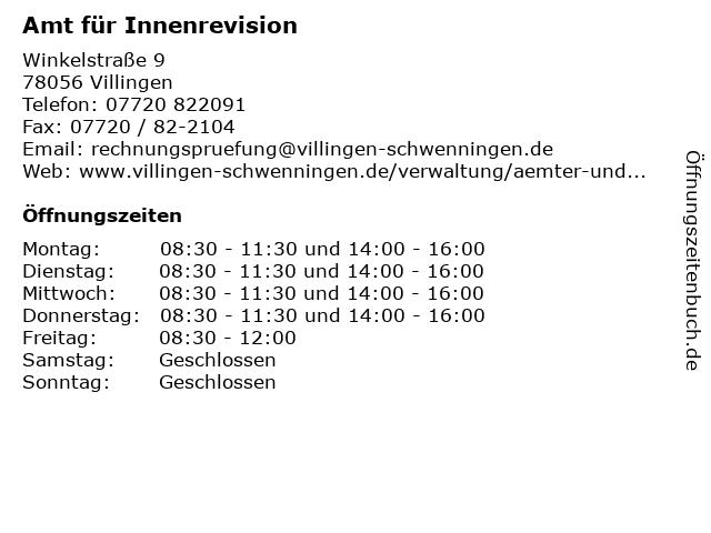 Amt für Innenrevision in Villingen: Adresse und Öffnungszeiten