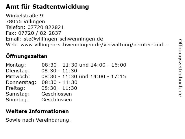 Amt für Stadtentwicklung in Villingen: Adresse und Öffnungszeiten