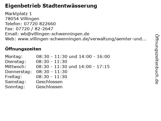 Eigenbetrieb Stadtentwässerung in Villingen: Adresse und Öffnungszeiten