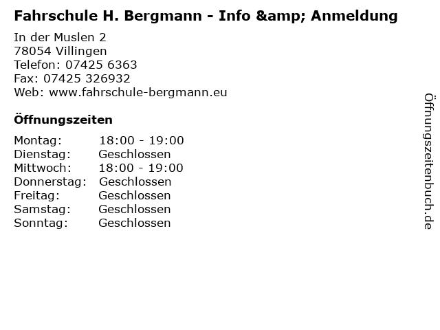Fahrschule H. Bergmann - Info & Anmeldung in Villingen: Adresse und Öffnungszeiten
