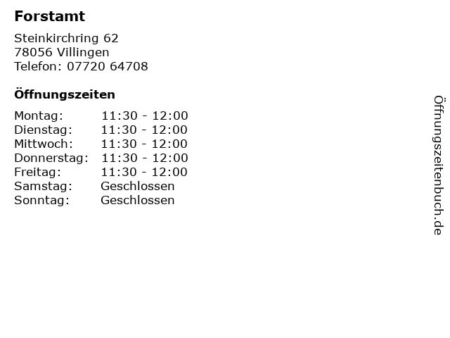 Forstamt in Villingen: Adresse und Öffnungszeiten