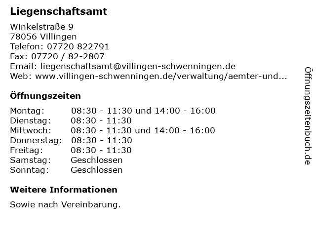 Liegenschaftsamt in Villingen: Adresse und Öffnungszeiten