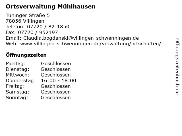 Ortsverwaltung Mühlhausen in Villingen: Adresse und Öffnungszeiten