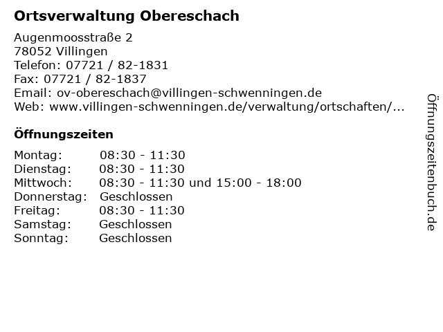 Ortsverwaltung Obereschach in Villingen: Adresse und Öffnungszeiten