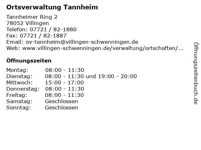 Ortsverwaltung Tannheim in Villingen: Adresse und Öffnungszeiten