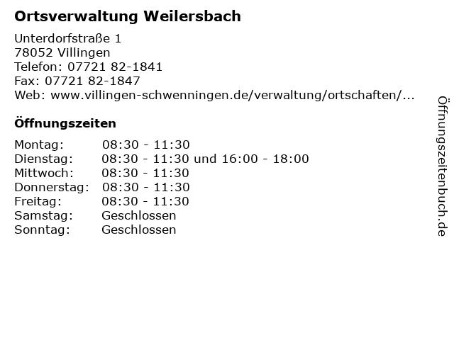 Ortsverwaltung Weilersbach in Villingen: Adresse und Öffnungszeiten