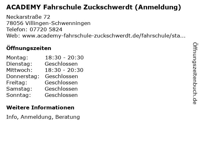 ACADEMY Fahrschule Zuckschwerdt (Anmeldung) in Villingen-Schwenningen: Adresse und Öffnungszeiten