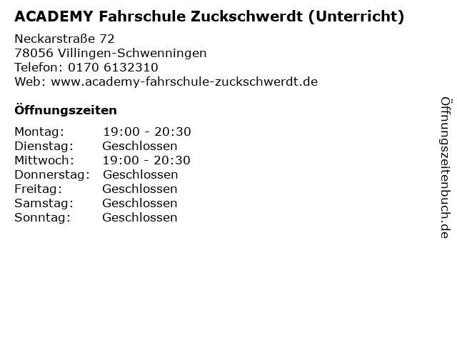 ACADEMY Fahrschule Zuckschwerdt (Unterricht) in Villingen-Schwenningen: Adresse und Öffnungszeiten