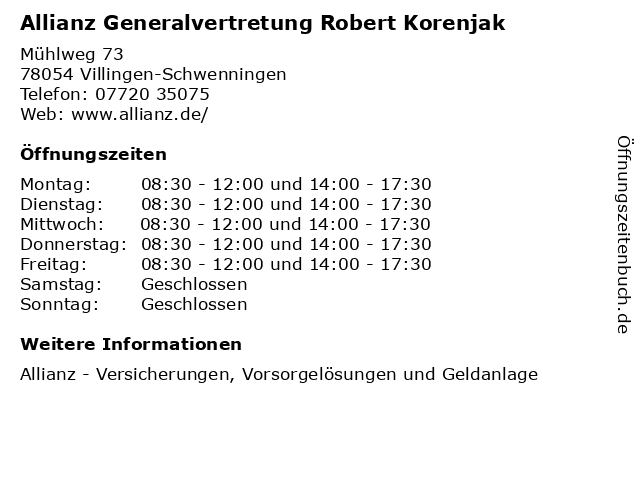 Allianz Generalvertretung Robert Korenjak in Villingen-Schwenningen: Adresse und Öffnungszeiten