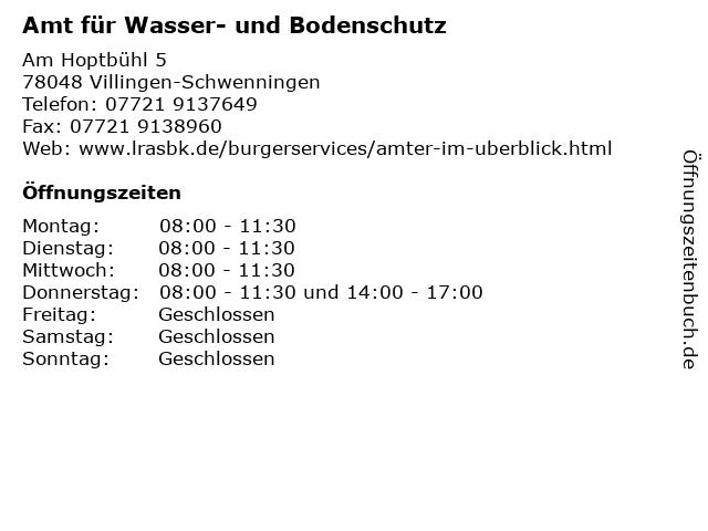 Amt für Wasser- und Bodenschutz in Villingen-Schwenningen: Adresse und Öffnungszeiten