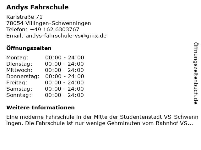 Andys Fahrschule in Villingen-Schwenningen: Adresse und Öffnungszeiten