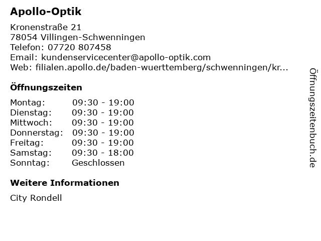 Apollo-Optik Holding GmbH & Co. KG in Villingen-Schwenningen: Adresse und Öffnungszeiten