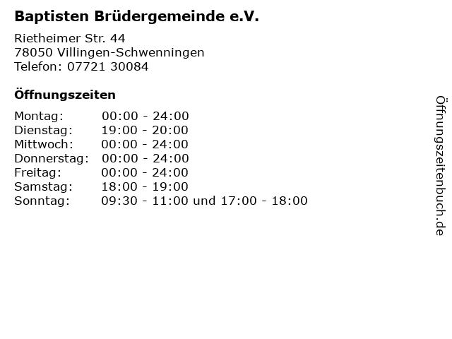 Baptisten Brüdergemeinde e.V. in Villingen-Schwenningen: Adresse und Öffnungszeiten