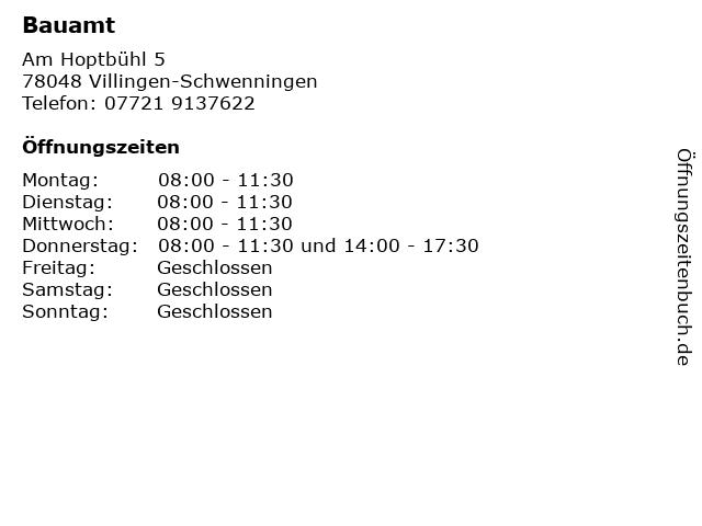 Bauamt in Villingen-Schwenningen: Adresse und Öffnungszeiten